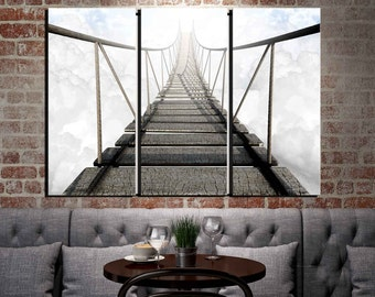 """Framed Huge 3-Panel Canvas Wall Art, Bridge To Nowhere, 30x42"""", Ready to Hang"""