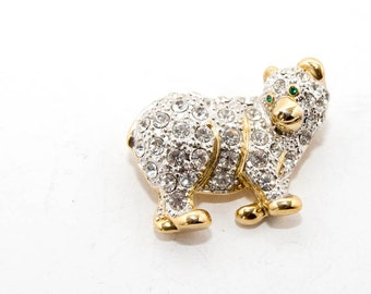 Brooch in gold tone with rhinestones in the shape of a little bear 7344