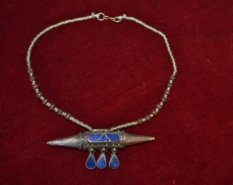 Vintage alpaka necklace from Afghanistan kuchi tribe - boho - gypsy with lapis lazoulis A140-7