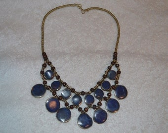 Vintage alpaka necklace from Afghanistan kuchi tribe - boho - gypsy with lapis lazoulis A140-9