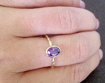 SALE! Amethyst Ring - Gold Ring - Stacking ring - Thin Stackable Ring - Gemstone Ring - Purple Ring - Bridal Ring - Simple Ring