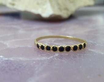 SALE!  Tiny Onyx Ring,Stack Ring,February Birthstone Ring,Gold Ring,Cute Ring,Dainty Ring,Black Ring,Bezel Set