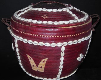 Tribal African Large Basket Cowrie Shells, Leather, Fiber, Hausa People Nigeria New *3