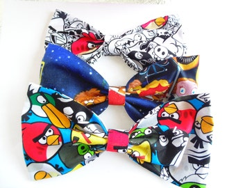 Angry Birds Hair Bow / Fabric Bow Hair Clip / Angry Bird, Star Wars Fabric Bow / Cute Hair Bow / Angry Birds Hair Clip / Cartoon Hair Bow