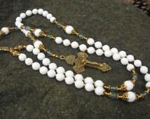 White Jade and Blue Apatite Rosary