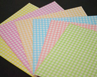 Pastel Checks Design Pretty Rainbow Paper Pack for Origami Paper Crane Folding - 140 sheets (8.6cm X 8.6cm)