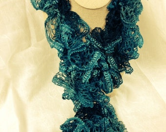 Handmade ruffle scarf - Mediterranean blend of greens and blues