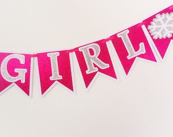 Its A Girl Snowflake Banner - Baby Shower - Party Supplies - Frozen - Decor