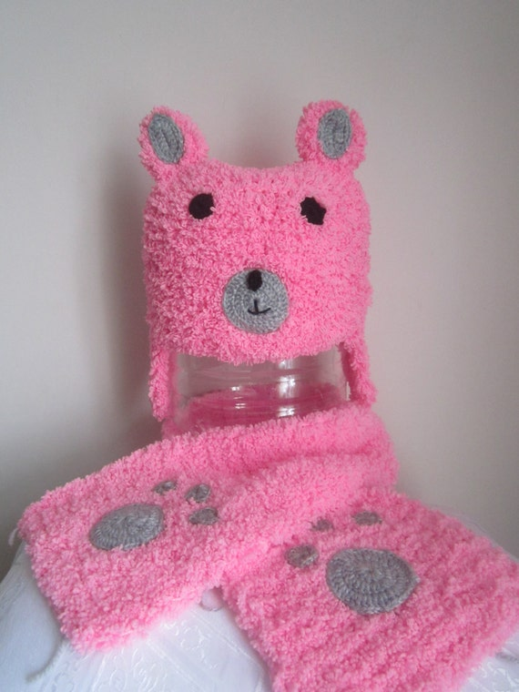 Knitting Pattern For Teddy Bear Scarf : Pink Knit Teddy Bear Hat&Scarf by DREAMLOCATIONTR on Etsy