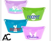 Personalized Plastic Bucket, Basket, Cute Character Custom Tub, Toy Bin with child's name