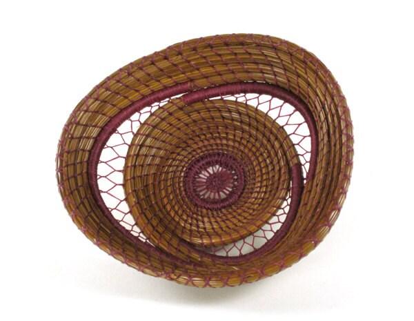Handmade Pine Needle Baskets : Coiled pine needle basket handmade nature by
