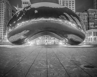 Chicago Photography- The Cloud Gate Art Print, Black and White Photo, Home Decor