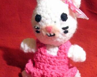 White Kitty Cat w/ Pink Dress