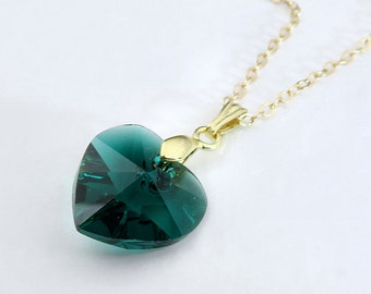Gold Birthstone Necklace, Crystal Heart Necklace, Choice Of 12 Colors, Gold Birthstone Jewelry, Gold Filled Necklace, Emerald Necklace,