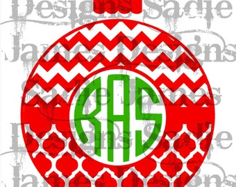 Monogram Christmas Ornament with Chevron and Quatrefoil and Chevron SVG and Silhouette Studio cutting file, Instant Download