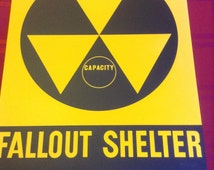 Vintage 1960's Original Fallout Shelter Sign Aluminum 14x20 great condition, minor signs of age