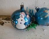 Blue Painted Snowmen Christmas Balls