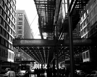 Downtown Chicago black and white photograph wall art street photography