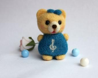 Needle Felted Bear Notka Doll toy Bear miniature Needle felted mini bear Dollhouse accessory Toy bear