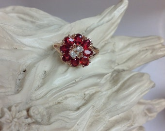 Genuine Red Ruby Flower with White Sapphire Ring