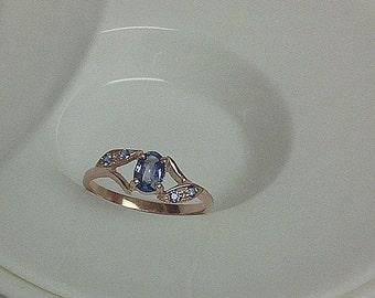 Genuine Blue Sapphire Leaf Ring
