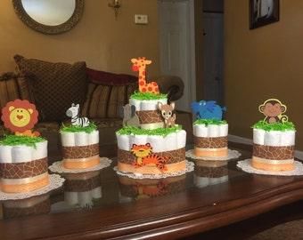 Safari diaper cake set - beautiful two tier diaper cake with four mini diaper cakes