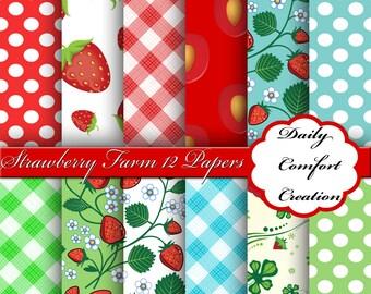 Strawberries Digital Paper, Strawberries Paper, Strawberries Scrapbook Paper, Digital Paper, Strawberries Papers, Scrapbook, #7277