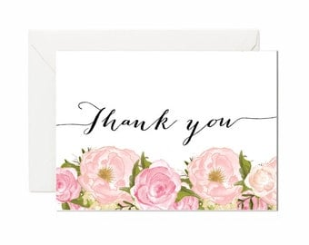 Thank You Card, Baby Shower, Bridal Shower Thank You Card, Peonies, Boho, Unique, Girl