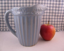 """Vintage 1920s 5-1/2"""" Blue Pottery Pitcher"""