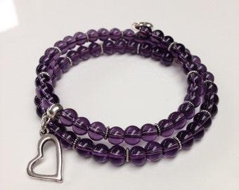 Dark purple bracelet, purple glass bead bracelet, purple memory wire bracelet, purple and silver bangle, best friend gift, purple jewelry