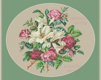Cross stitch pattern Roses and lilies Reconstructed according to old tapestry style Berlin Woolwork Cross Stitch Patterns PDF srossstitch