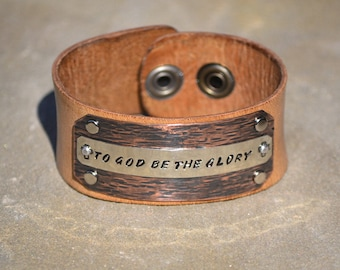 To God Be The Glory Christian Cuff Bracelet, Religious Leather Cuff Bracelet - Rustic Leather, Hammered Copper and Nickel - Free Shipping