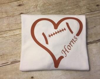 Children's UT Longhorns Football Heart T-Shirt