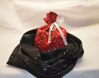 Black Sparkly Infinity Scarf - Free Gift Bag!