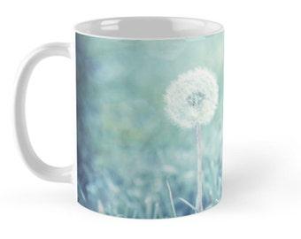 Dandelion Floral Ceramic Mug, 11 ounce Mug,  Dandelion Puff Ceramic Mug, Blue Flower Ceramic mug