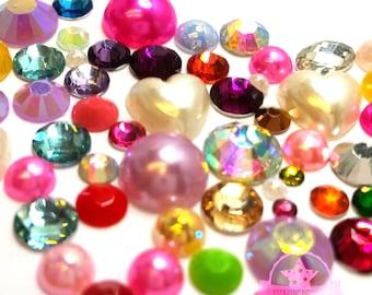 300 pcs Resin crystal Mixed Color shape Assorted Rhinestones Flatback M1-08