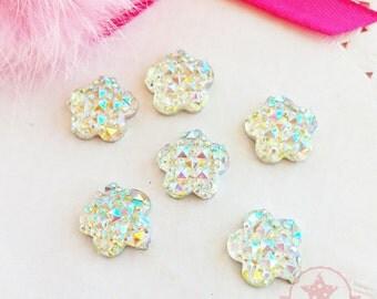 20mm Flower Crystal AB Glittery Acrylic Special Effect Rhinestones ~ Q1-19