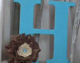 Turquoise Monogram H with Brown and Cream Burlap Flower with Turquoise gem