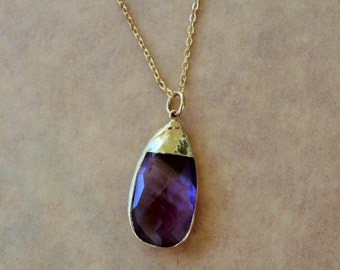 Purple Stone Necklace, Purple Chalcedony Necklace,  Gold Dipped Chalcedony