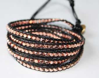 Five Wrap Leather Bracelet - Black Leather and Rose Gold Nugget Bead Bracelet - Bohemian Jewelry - Boho Chic