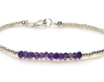 Amethyst Beaded Bracelet, Purple Stone Bracelet, Sterling Silver Beaded Bracelet