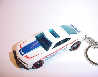 3D Chevrolet Camaro POLICE custom keychain by Brian Thornton keyring key chain finished in white 911
