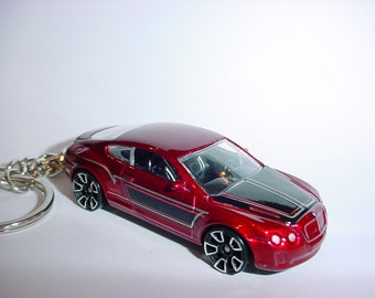 3D Bentley Continental Supersports custom keychain keyring key chain by Thornton Gifts finished in deep red color trim