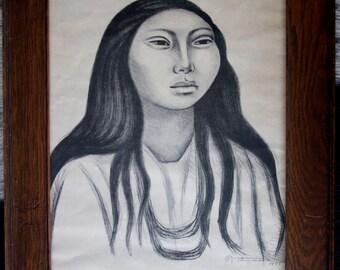 """Raul Anguiano """"La Cabeza de la mujer""""  signed lithograph circa 1951"""
