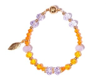 """Luminous, lovely """" Electra"""" bracelet, in bright mauve, orange, yellow and gold colours"""