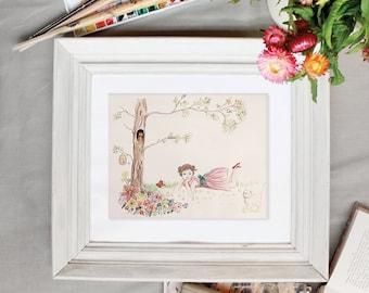 Nursery Wall Art little girl illustration