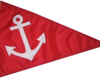 "Anchor Pennant 12""x18"" Handsewn Nautical Boating Flag (Various Colors)"