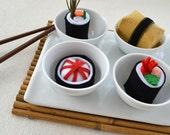felt sushi rolls pretend play food, ecofriendly toy, soft toy, montessori toy, gift for children, yummy sushi