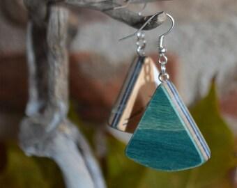 Triangle Earrings in recycled skateboard