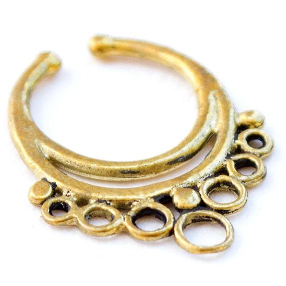 Faux Brass Septum Ring. brass septum ring. tribal septum. septum jewelry. indian septum ring. septum piercing. fake septum.fake septum ring.